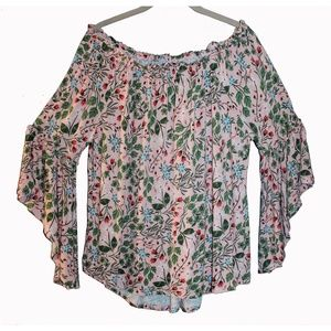 Super Cute Peasant Top Floral Off Shoulder or On